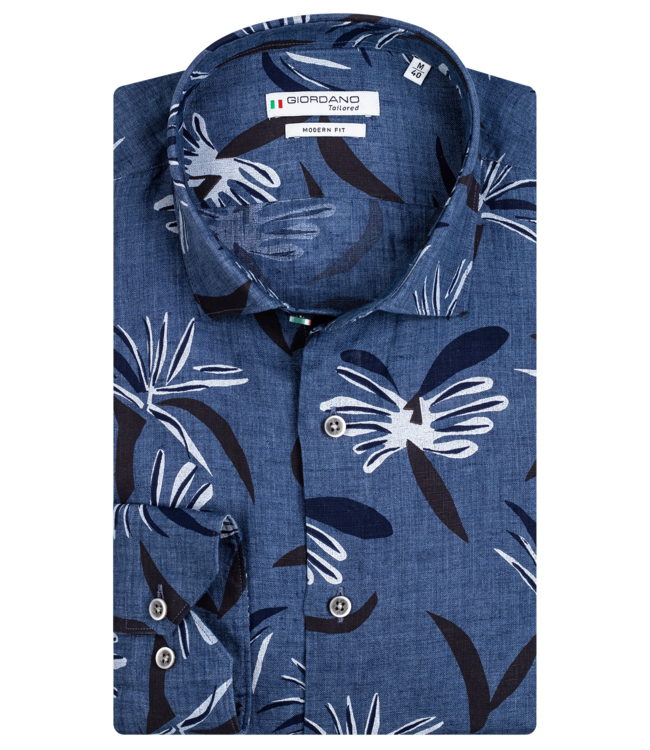 Giordano Shirt with Allover Print - Jeans Blue