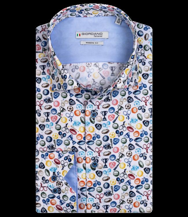 Giordano Overhemd met Sport Print -  Light Blue