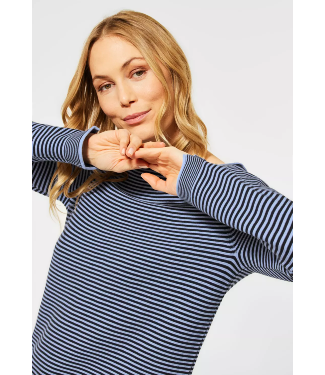 Cecil Sweater with Stripes - Quiet Blue