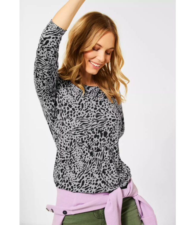 Cecil Shirt with Animal Print - Mineral Grey Melange