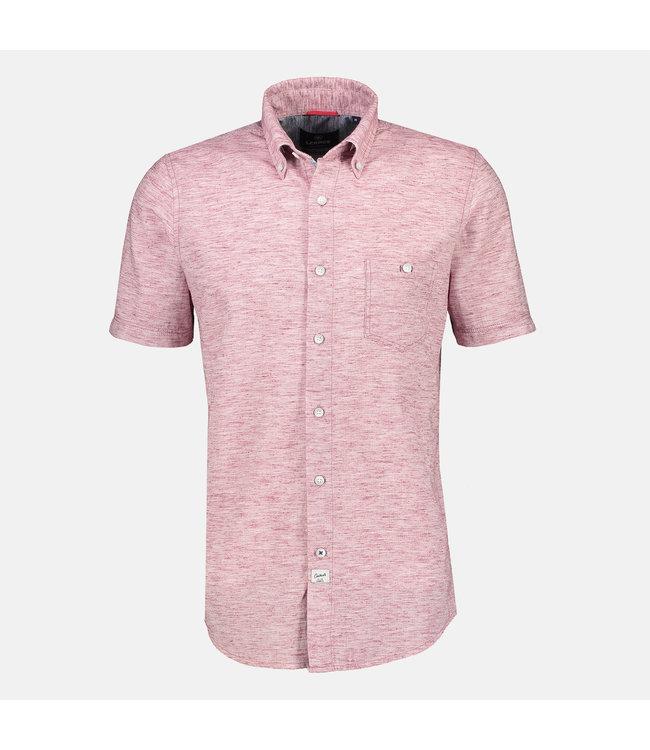 Lerros Gestructueerd Shirt met Korte Mouwen - Coral Red