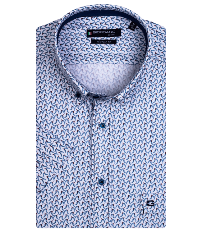 Giordano Shirt with Short Sleeves and Hot Pepper Print - Aqua Blue
