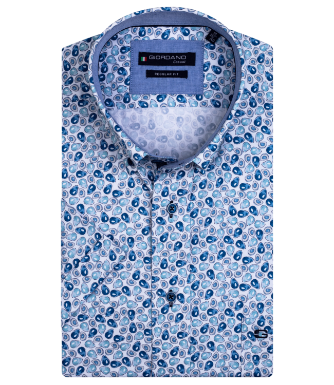 Giordano Overhemd Korte Mouw Avocado Print - Aqua Blue
