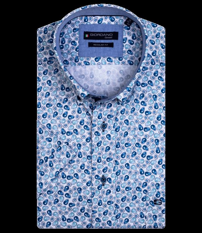 Giordano Shirt with Short Sleeves and Avocado Print - Aqua Blue