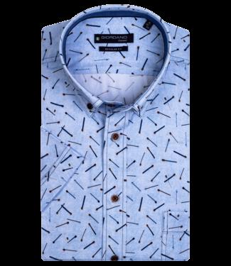 Giordano Overhemd Korte Mouw Lucifer Print - Light Blue
