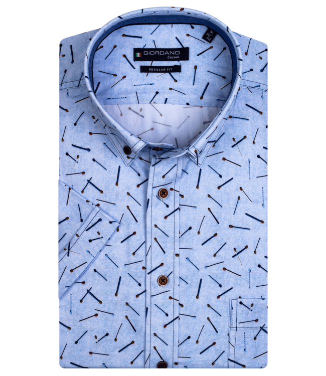 Giordano Shirt with Short Sleeves and Print - Light Blue