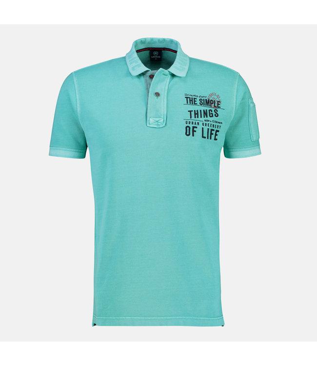 Lerros Poloshirt mit Frontprint - Turquoise