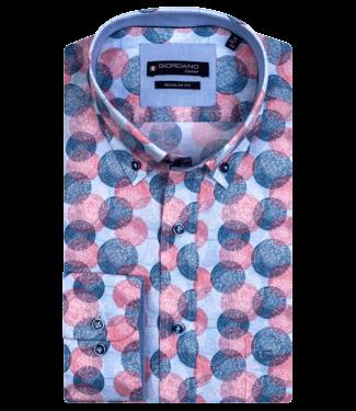 Giordano Kurzarm Hemd mit Allover Print - Red