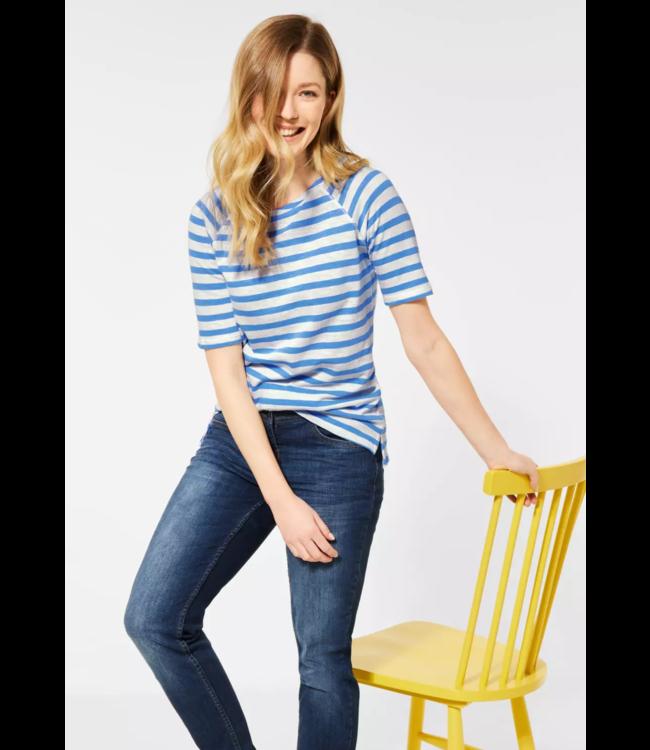 Cecil Raglan T-Shirt mit Streifen - Provence Blue
