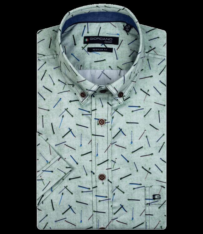 Giordano Kurzarm Hemd mit Print - Green