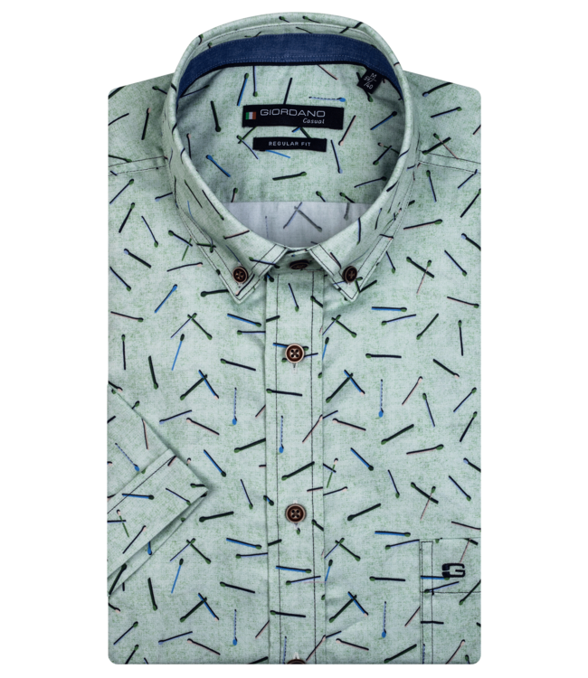 Giordano Shirt with Short Sleeves and Print - Green