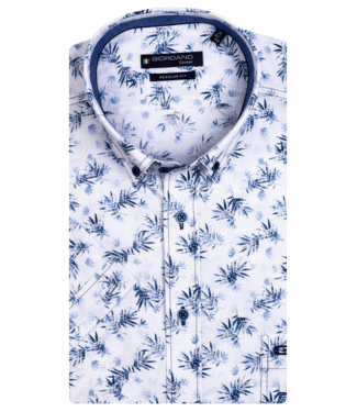 Giordano Shirt with Short Sleeves Leaves - White