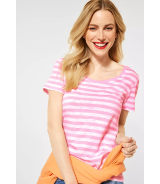 Street One T-Shirt with Stripes Gerda - Pearl Rose