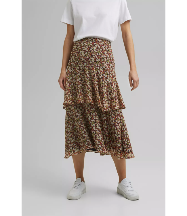 Esprit Recycled: Volant Midi-Skirt with Floral Print - Navy
