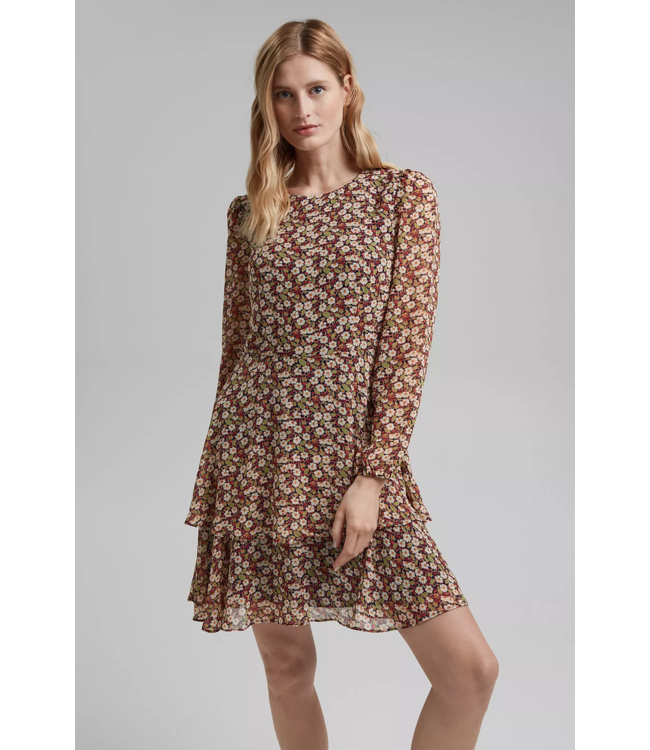 Esprit Recycled: Chiffon Dress with Floral Print - Navy