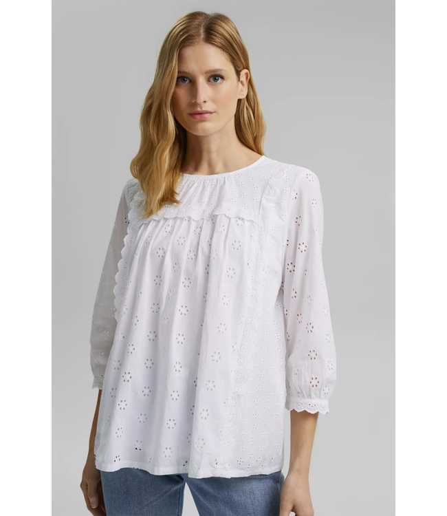 Esprit Blouse with Embroidery, Organic Cotton - White