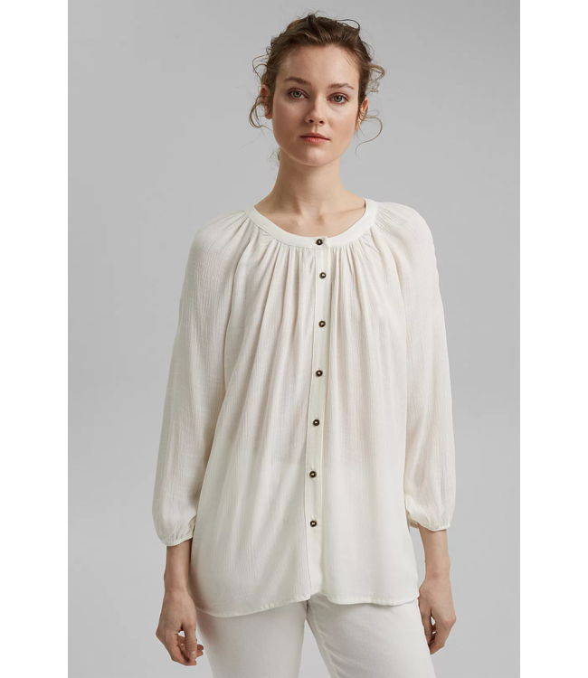 Esprit Crinkle Blouse from LENZING™ ECOVERO™ - Off White