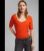 Esprit Met Linnen: Basic T-Shirt - Orange Red