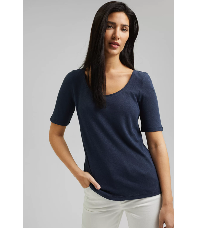 Esprit Mit Leinen: Basic T-Shirt - Navy