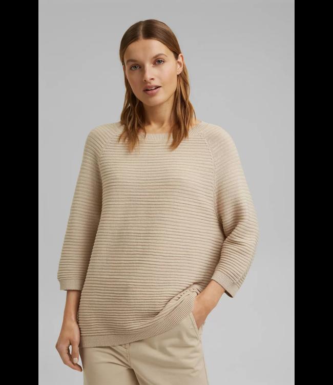 Esprit Leinen/Organic Cotton: Rippstrick-Pullover - Sand