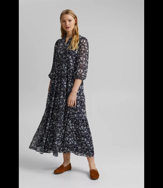 Esprit Recycled: Maxi Dress Crinkle-Chiffon - Navy