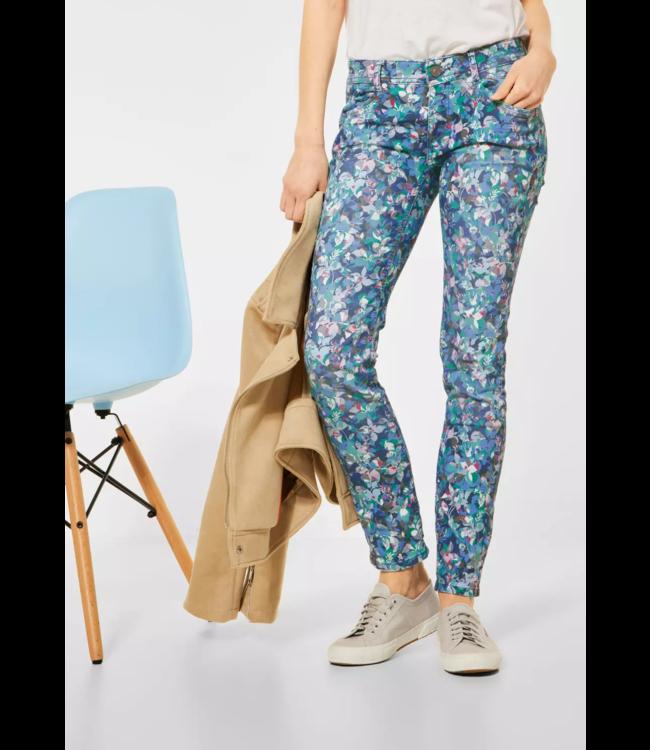 Street One Pants with Floral Print Crissi - Flower Print Denim Wash