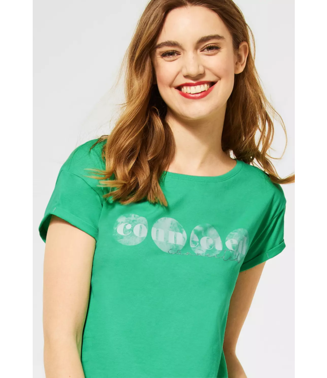 Street One Shirt with Part Print - Yucca Green
