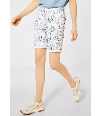 Cecil Loose Fit Shorts with Flowers New York - White