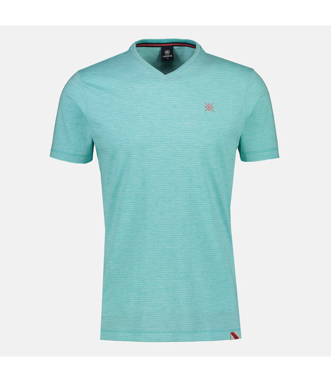 Lerros Striped Shirt with V-Neck - Turquoise
