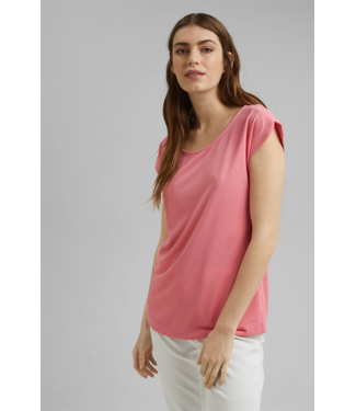 Esprit Modal-Mix: Smooth T-Shirt - Coral