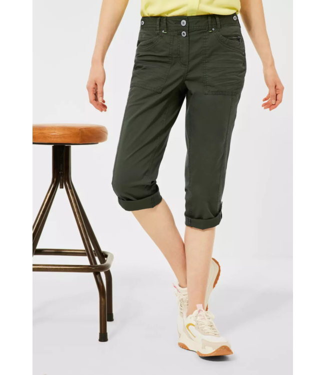 Cecil Casual Fit Hose New York - Utility Olive