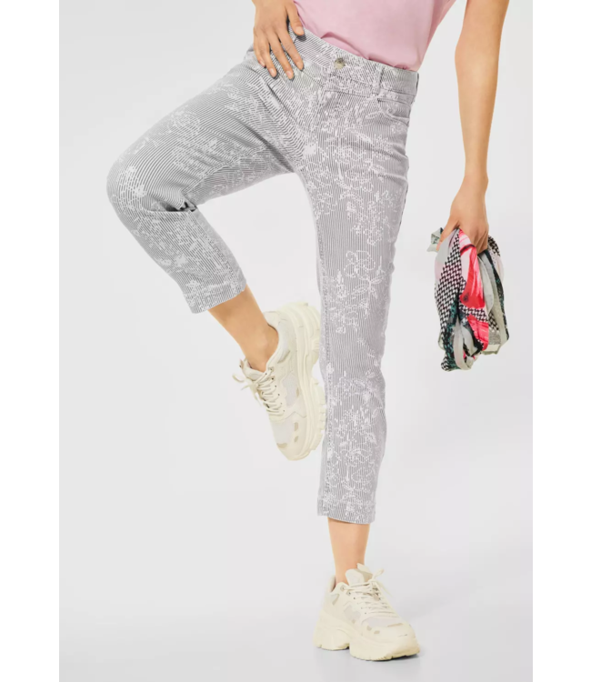 Street One Casual Fit Pants with Print Yulius - White