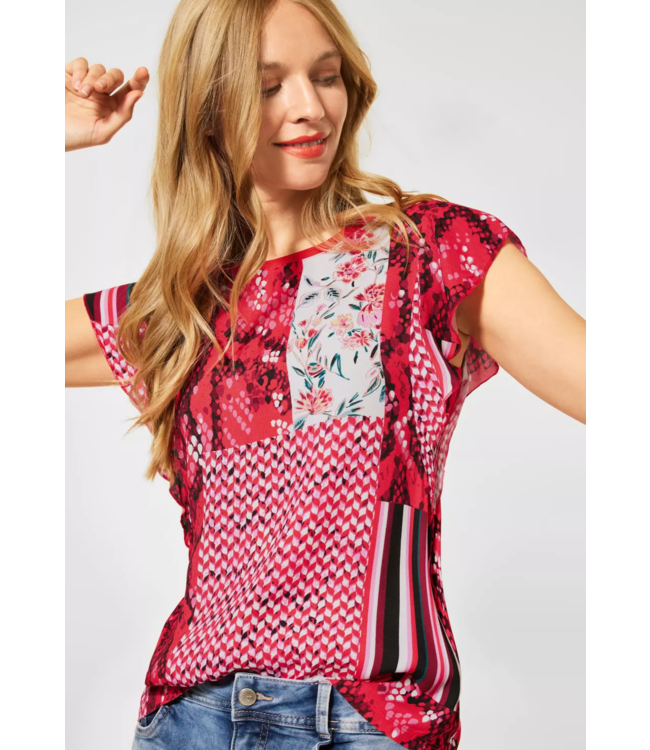Street One Blousetop with Batwing Sleeves - Spice Red