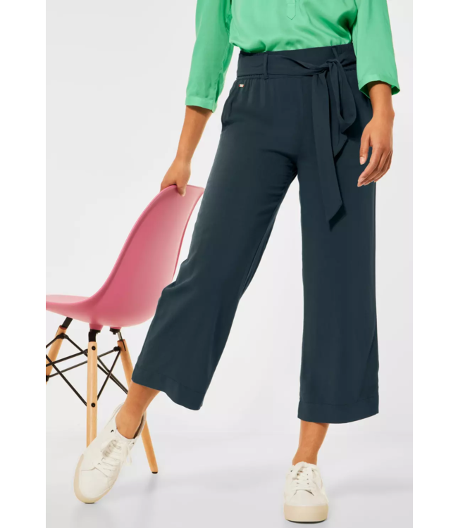 Street One Loose Fit Pants with Wide Leg Emee - Spruce Green