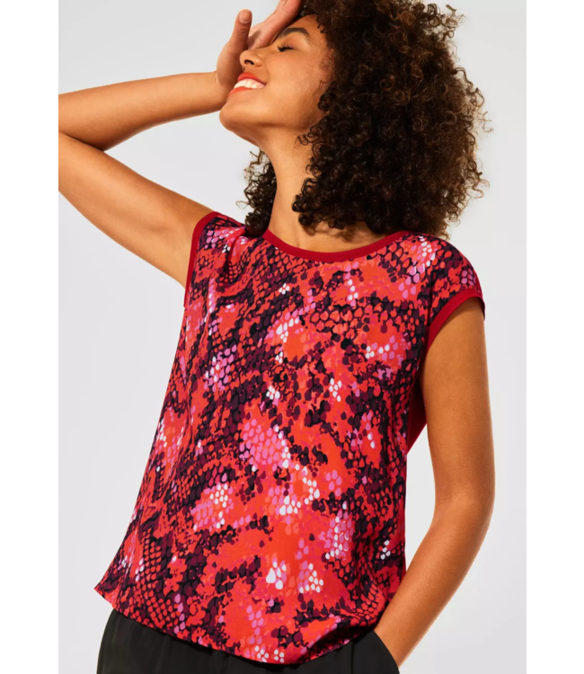 Street One T-Shirt met Print - Spice Red
