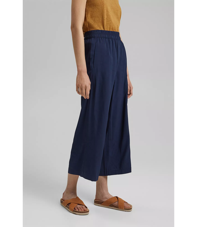 Esprit Culotte Pants with Elastic Waistband - Navy