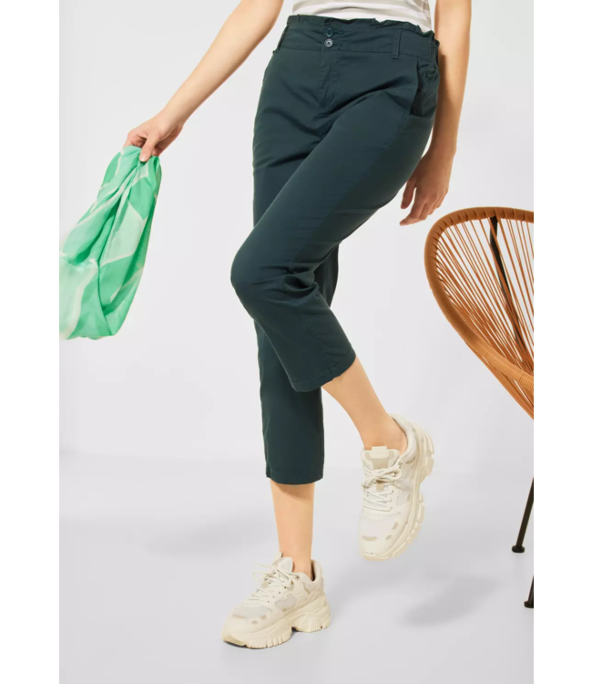 Street One Loose Fit Pants in High Waist - Spruce Green