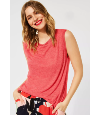 Street One T-Shirt in Linen Look - Red Fury