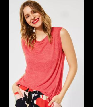 Street One T-Shirt in Linnen Look - Red Fury