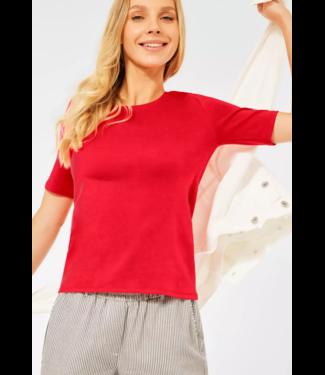 Cecil Organic Shirt Lena - Poppy Red