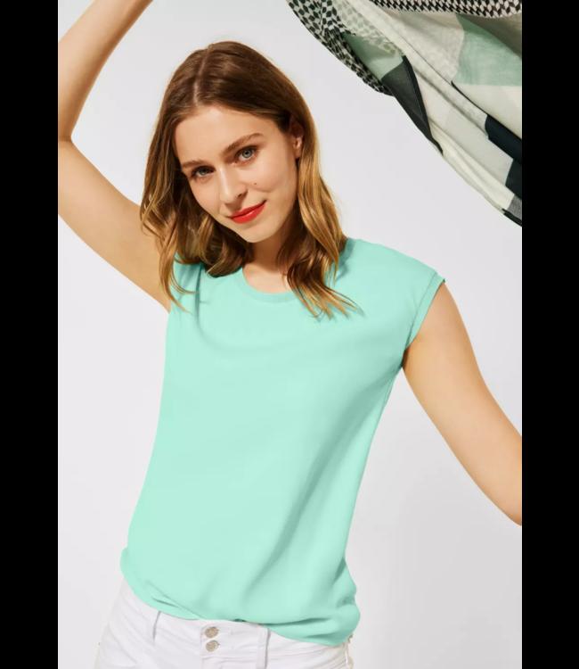Street One T-Shirt im Materialmix - Menthe Green