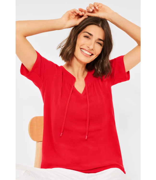 Cecil Blouse with Details - Poppy Red