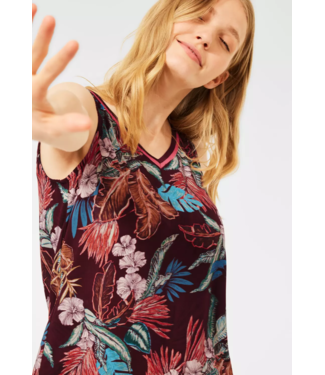 Cecil Blousetop with Print - Red Grape