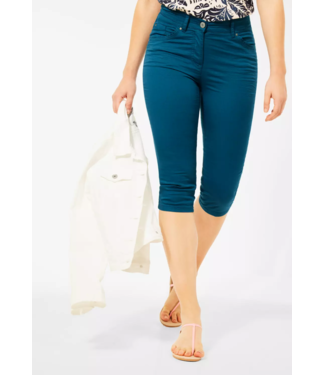 Cecil Slim Fit Hose in High Waist Vicky - Deep Lagoon Blue