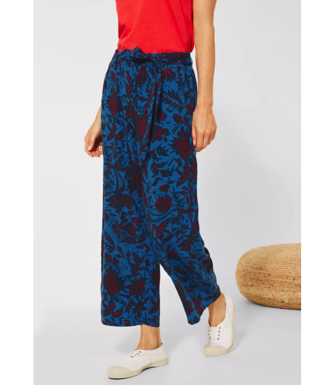 Cecil Loose Fit Pants with Floral Print - Lake Blue