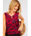 Cecil Blousetop with Floral Print - Poppy Red