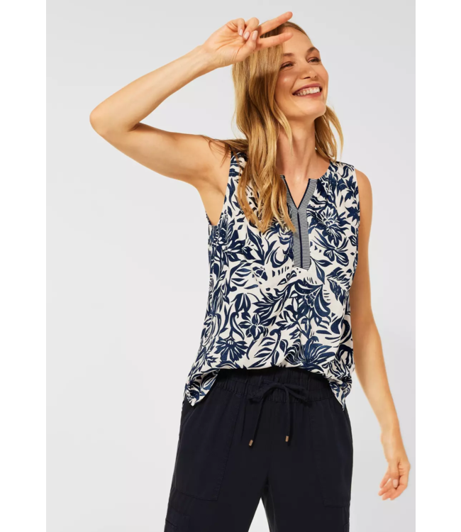 Cecil Blousetop with Floral Print - Pure Off White