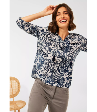 Cecil Blouse with Flower Print - Pure Off White