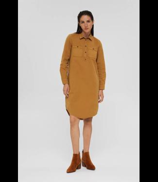 Esprit Hemdblusenkleid aus 100% Pima Baumwolle - Camel