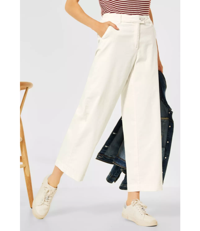 Cecil Loose Fit Pants with Wide Legs - Birch White